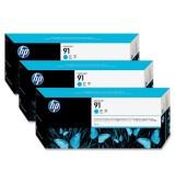 HP 91 3-pack 775-ml Cyan Ink Cartridges