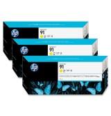 HP 91 3-pack 775-ml Yellow Ink Cartridges