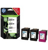HP 301 Black (2)/Tri-color (1) 3-pack Original Ink Cartridges