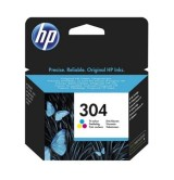 HP - Оригинална мастилница 304 Tri-color,  N9K05AE